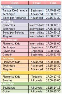 Alba Flamenca class timetable Autumn 2019