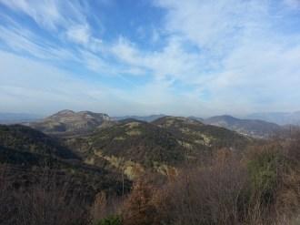 Panorama view of Mumajes village, behind castle of Petrela