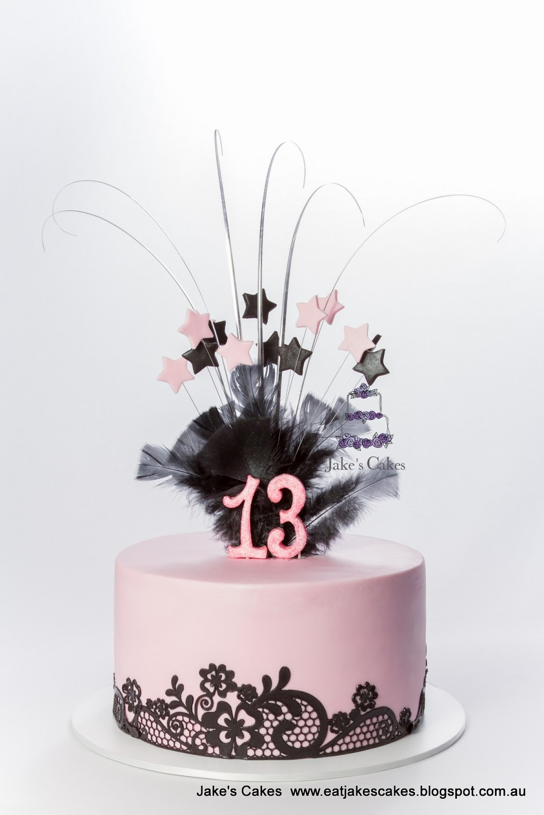 13 Birthday Cake Jakes Cakes Pink And Black Lace 13th Birthday Cake