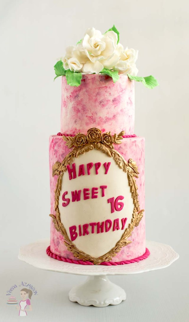 16 Birthday Cakes Pink Sweet Sixteen Birthday Cake With Sugar Gardenias Veena Azmanov
