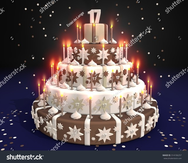 17 Year Old Birthday Cake Cake Burning Candles Birthday 17 Year Stockillustration 314106257
