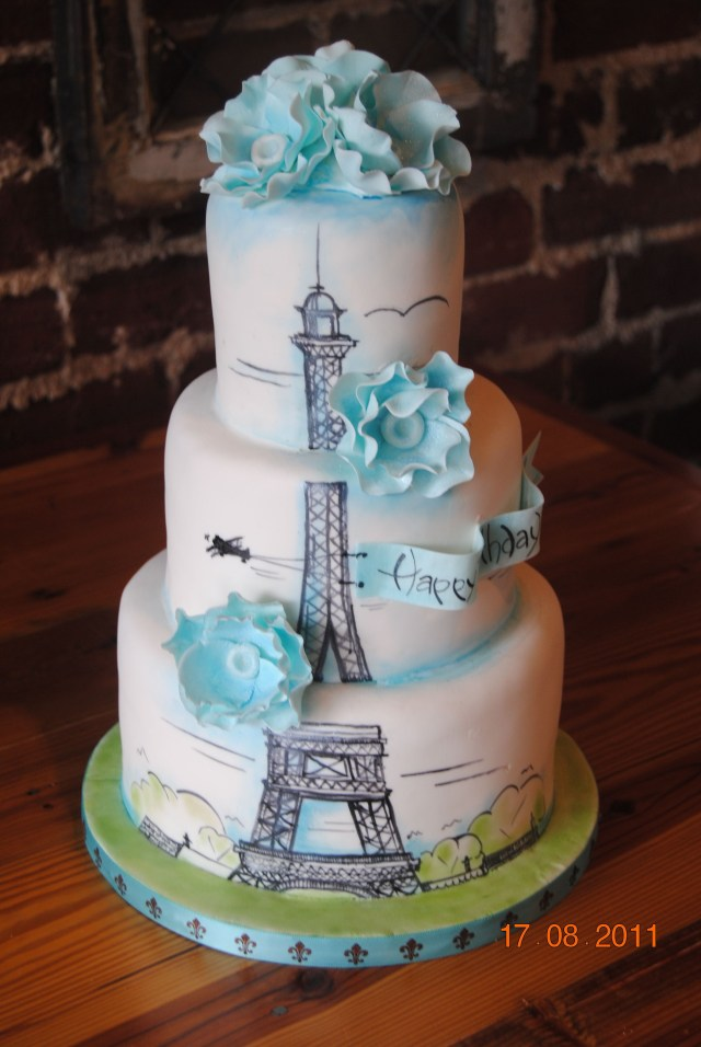 17 Year Old Birthday Cake Paris Birthday Cake Another Version Of Our Large Eiffel Tower Cake