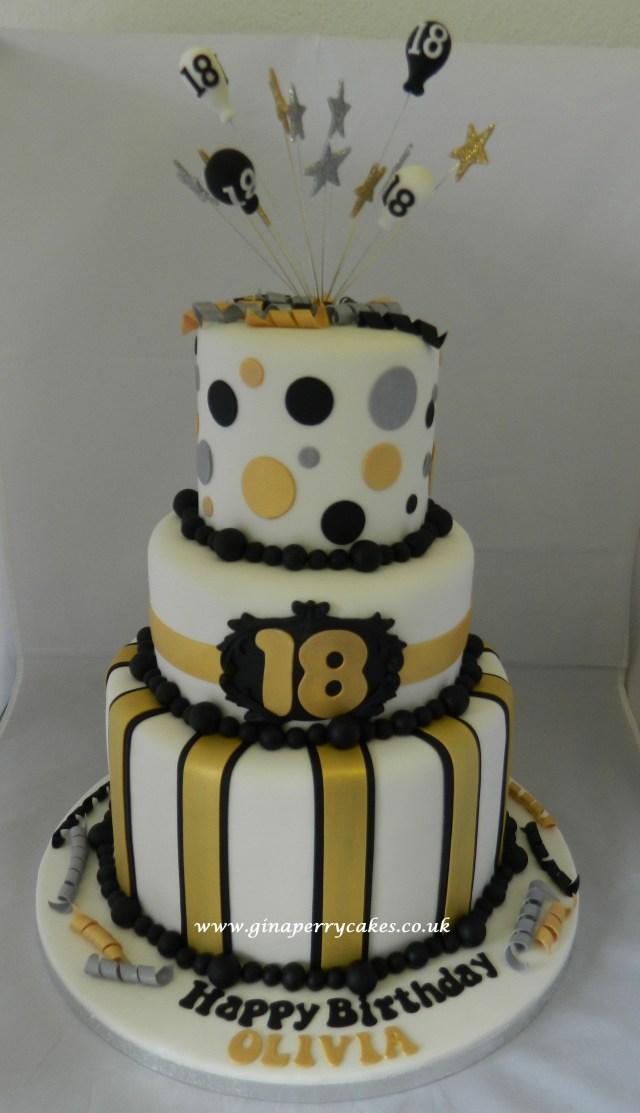 18Th Birthday Cake Designs 18th Birthday Cake Gold Silver Black Theme Party Time