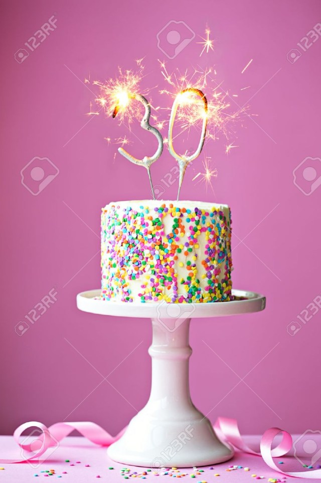 30Th Birthday Cake 30th Birthday Cake With Sparklers Stock Photo Picture And Royalty