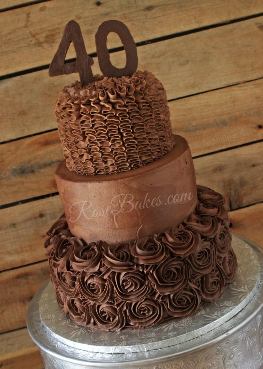 40Th Birthday Cake Ideas All Chocolate 40th Birthday Cake Rose Bakes