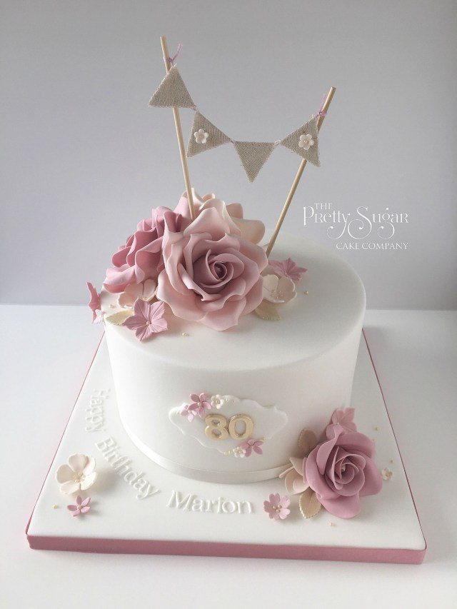 40Th Birthday Cake Ideas For Her Vintage Style 80th Birthday Cake With Sugar Roses And Bunting Topper