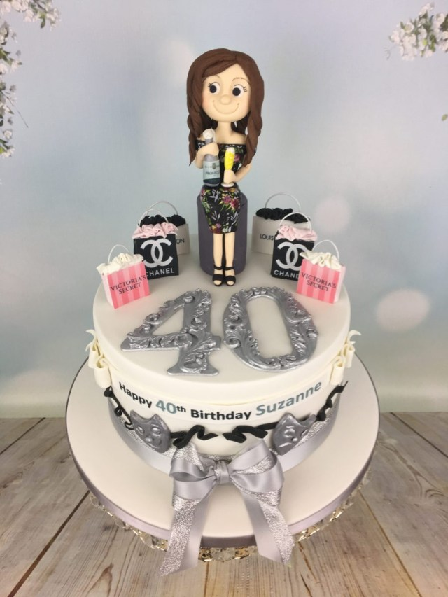 40Th Birthday Cake Ideas Prosecco And Shopping 40th Birthday Cake Mels Amazing Cakes