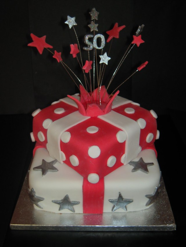 50Th Birthday Cake Ideas For Her Eileen Atkinsons Celebration Cakes 50th Stacked Present