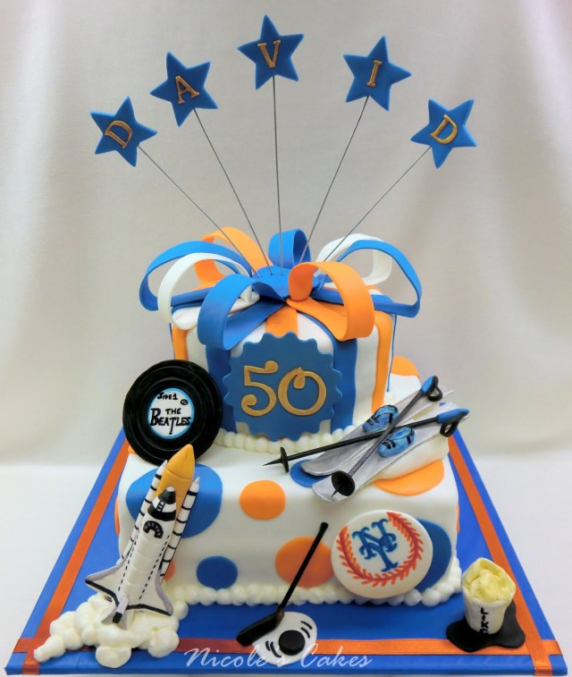 50Th Birthday Cake Ideas For Him On Birthday Cakes Mets Themed 50th Birthday Tribute