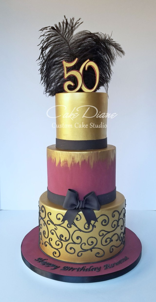 50Th Birthday Cake Images Burgundy And Gold 50th Cakecentral