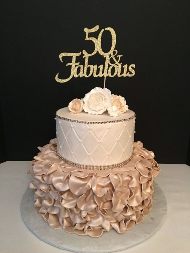 50Th Birthday Cakes Any Number Gold Glitter 50th Birthday Cake Topper 50 And Fabulous