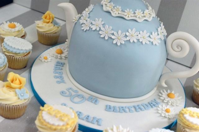 50Th Birthday Cakes Vintage Tea Pot 50th Birthday Cake And Cupcakes 4 Bakealous