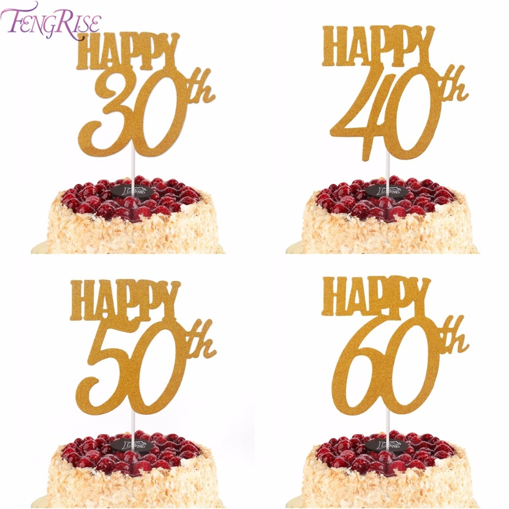 60Th Birthday Cake Toppers Fengrise 1pc Gold Happy Topper 40th 50th 60th Cupcake