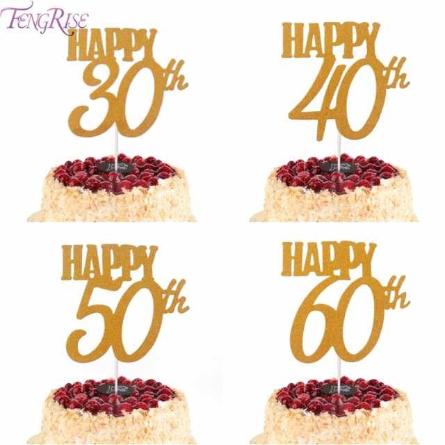 60Th Birthday Cake Toppers Fengrise 1pc Gold Happy Birthday Cake Topper 40th 50th 60th Cupcake