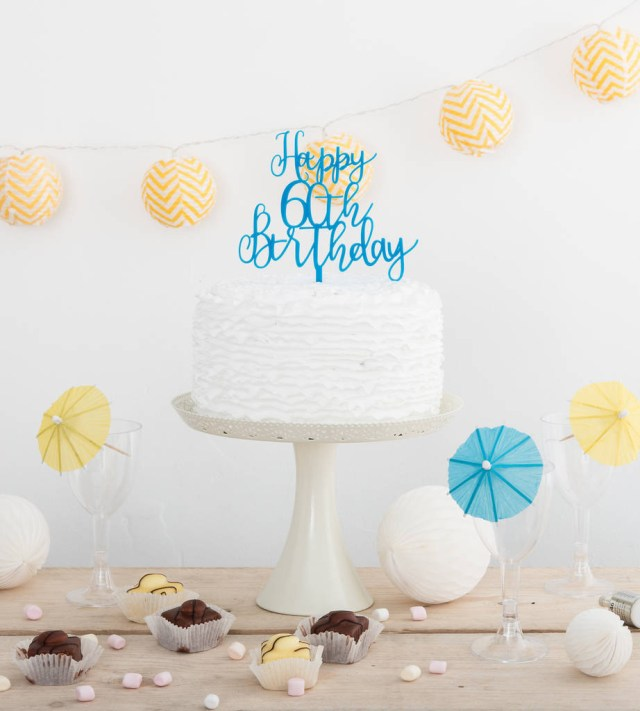 60Th Birthday Cake Toppers Happy 60th Birthday Party Cake Topper Decoration Set Funky Laser