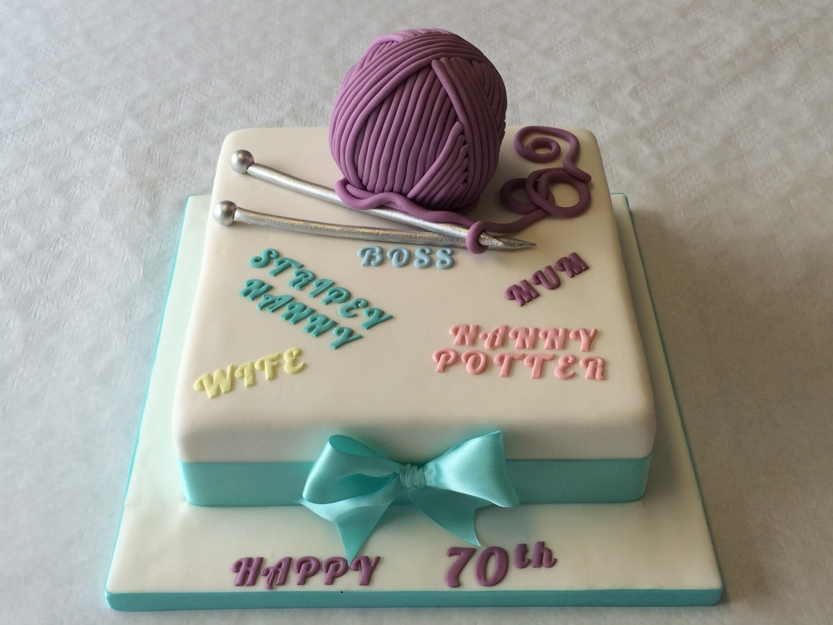 70Th Birthday Cake 70th Ball Of Wool And Knitting Needles Adult