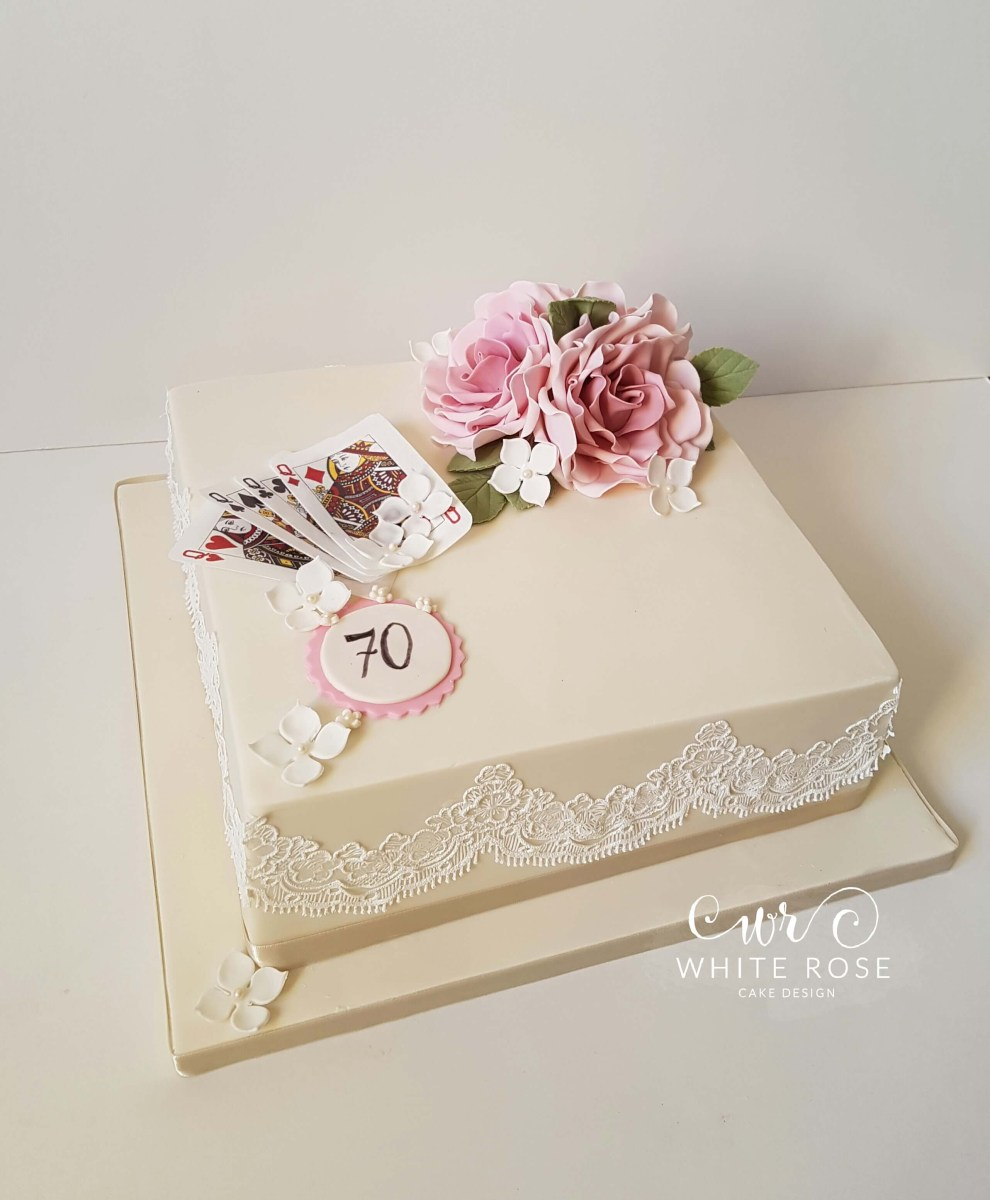 70Th Birthday Cake 70th For A Bridge Player White Rose Design In