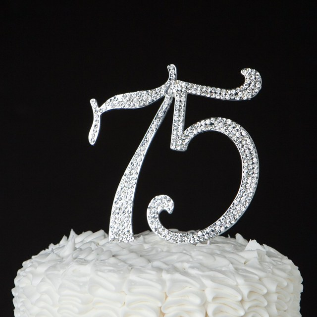 75Th Birthday Cake 75 Cake Topper For 75th Birthday Or Anniversary Party Crystal