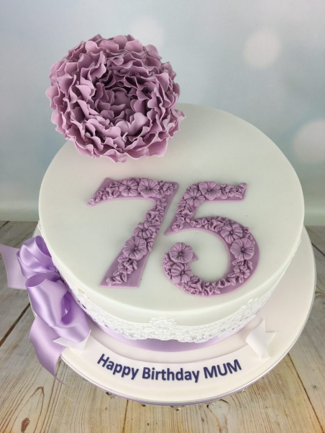 75Th Birthday Cake Lilac Peony 75th Mels Amazing Cakes