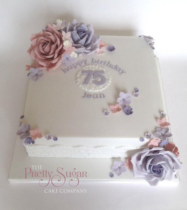 75Th Birthday Cake Pretty 75th Birthday Cake Seventyfifth Birthdaycakes Lilac Blush