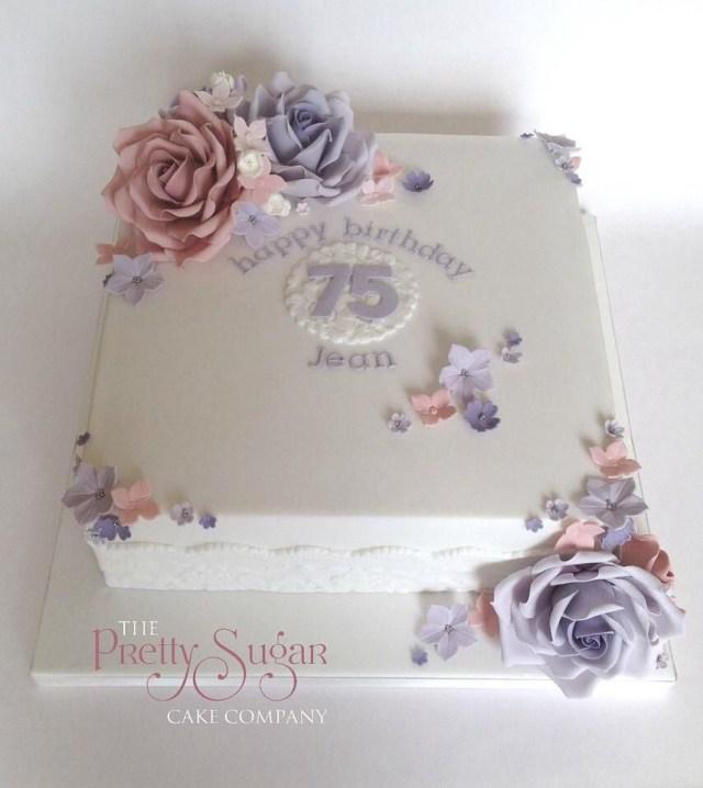 75Th Birthday Cake Pretty 75th Seventyfifth Birthdaycakes Lilac Blush