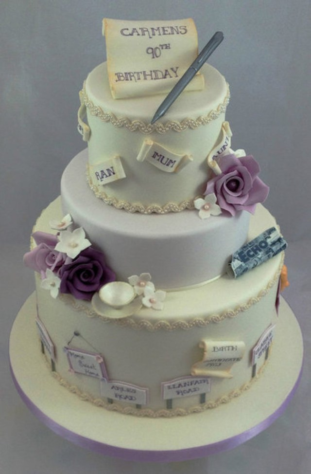 90Th Birthday Cake Ideas This 3 Tier 90th Was A Very Special Order For