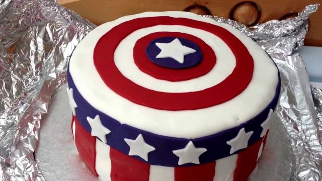 Avenger Birthday Cake How To Make A Fondant Captain America Birthday Cake The Avengers 1st