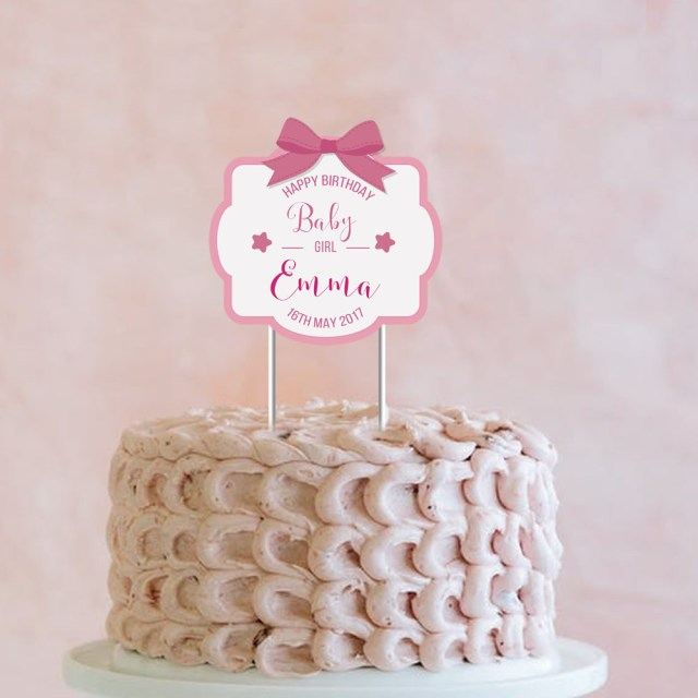 Baby Girl Birthday Cake Happy Birthday Ba Girl Custom Cake Topper Happy Birthday Etsy