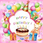 Balloon Birthday Cake Birthday Card With Birthday Cake Balloons And Gifts Royalty Free