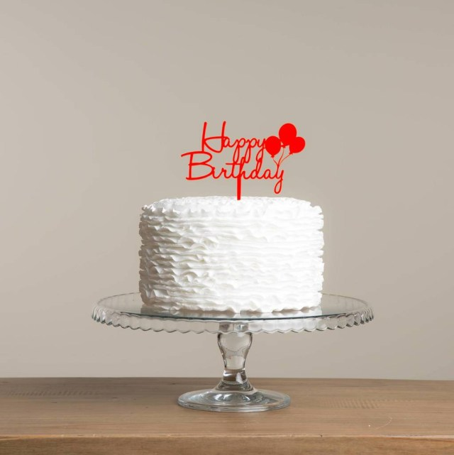 Balloon Birthday Cake Happy Birthday Cake Topper With Balloon Detailing Set Funky Laser