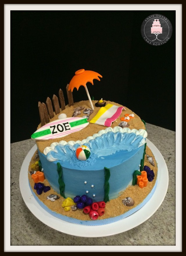 Beach Theme Birthday Cake Beach Themed Cake Vanilla Cake With Vanilla Swiss Meringue