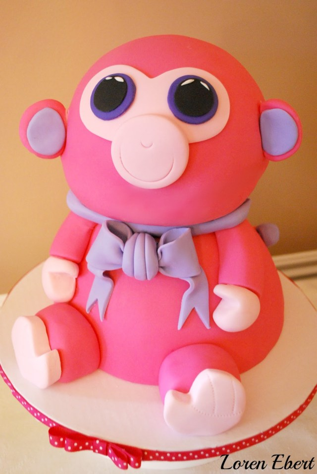 Beanie Boo Birthday Cake The Baking Sheet Raspberry Beanie Ba Monkey Cake