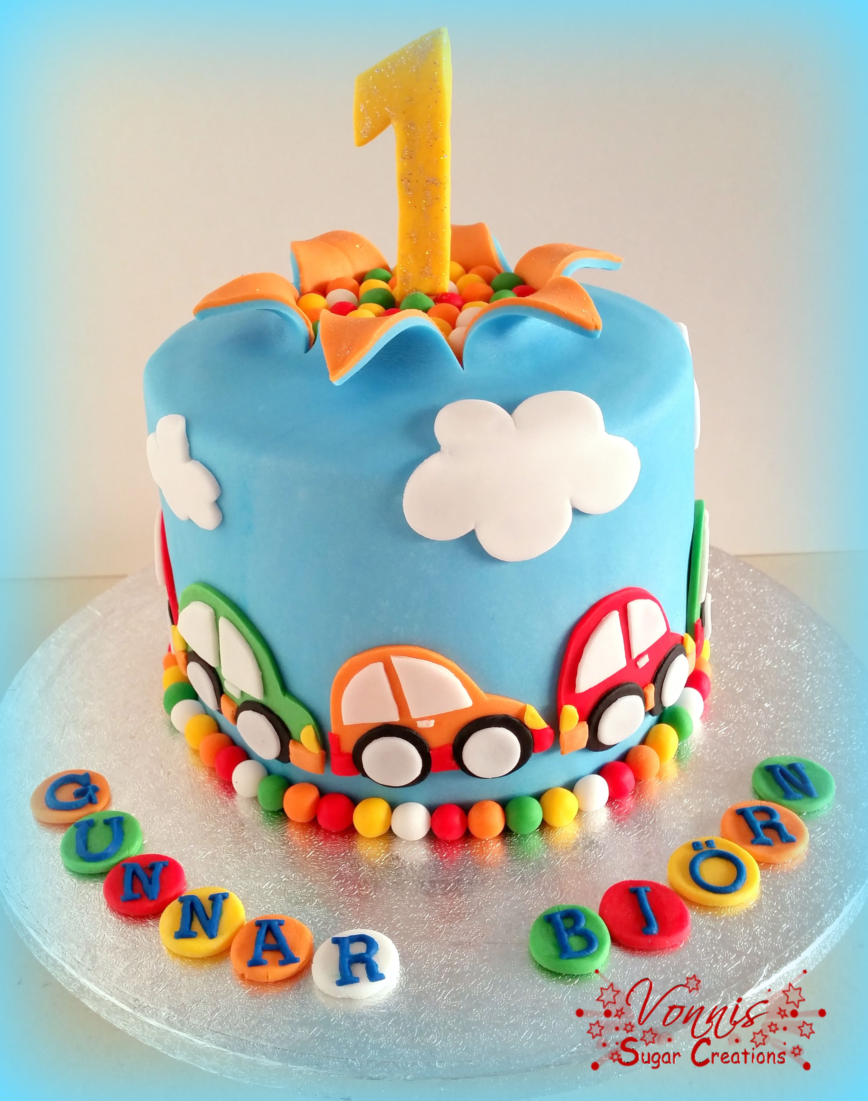 Birthday Cake Boy Cars First Colorful Explosion Auto Torte