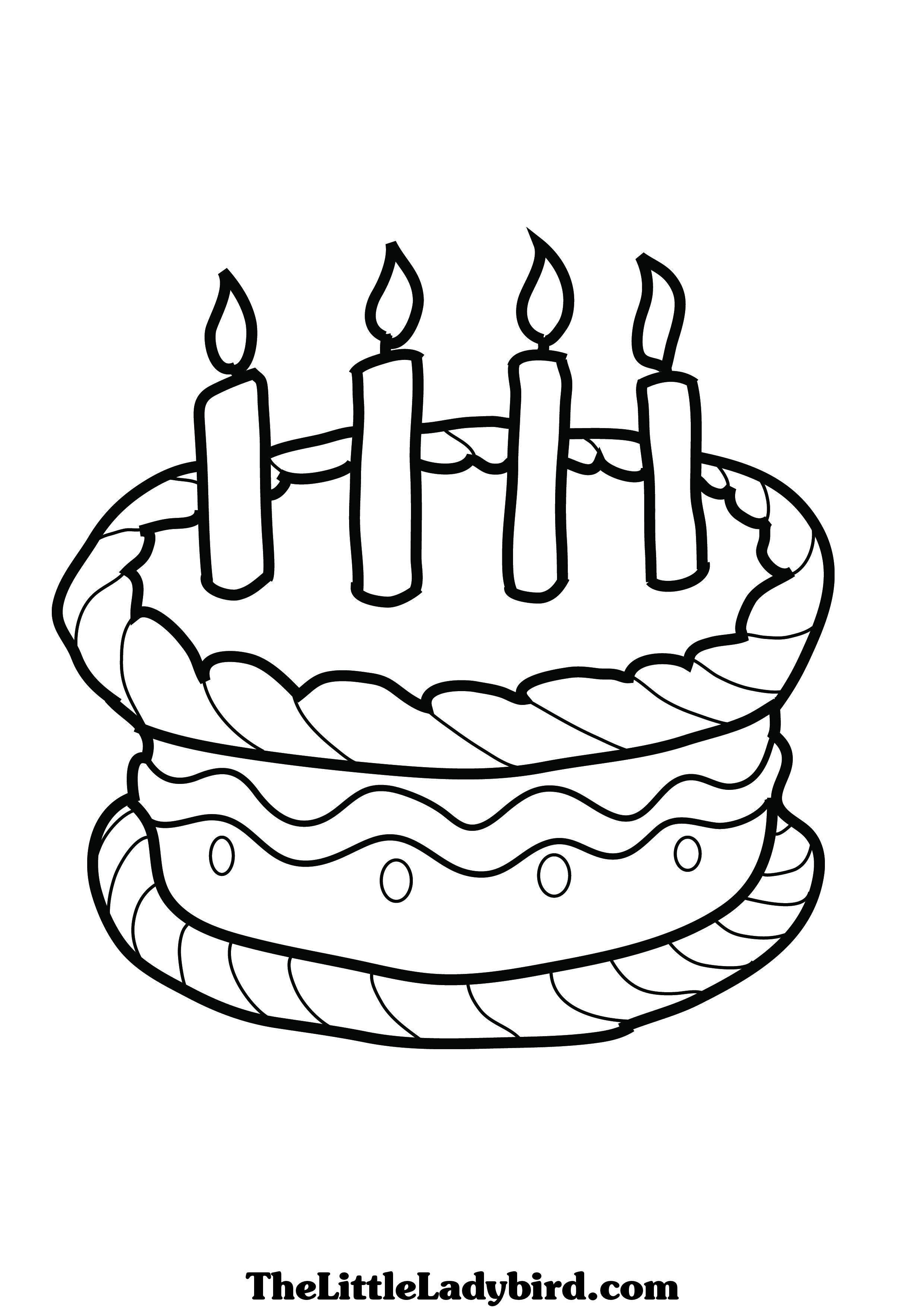 Birthday Cake Coloring Page Pages For Preschoolers To Print Simple