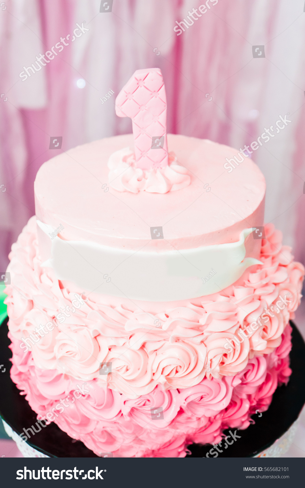 Birthday Cake For 1 Year Old Close Image Girl Stock Photo Edit Now 565682101