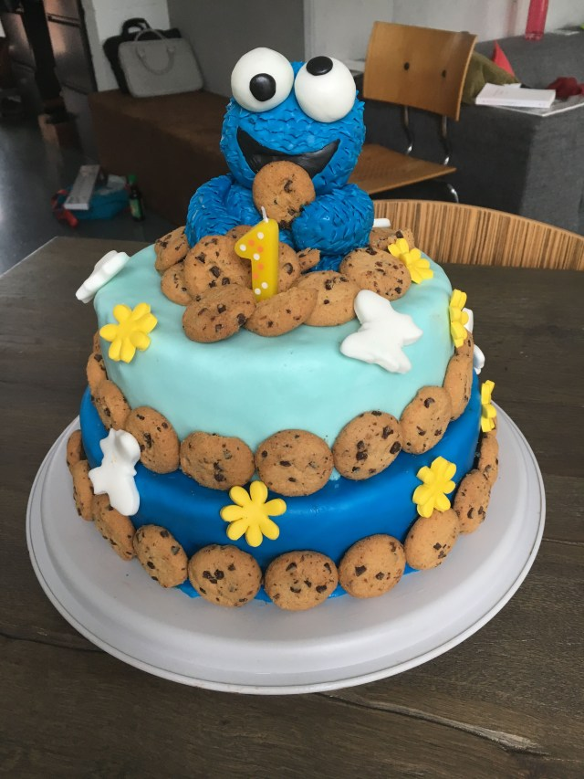 Birthday Cake For 1 Year Old Cookie Monster Birthday Cake For My 1 Year Old Ba Boy Birthday
