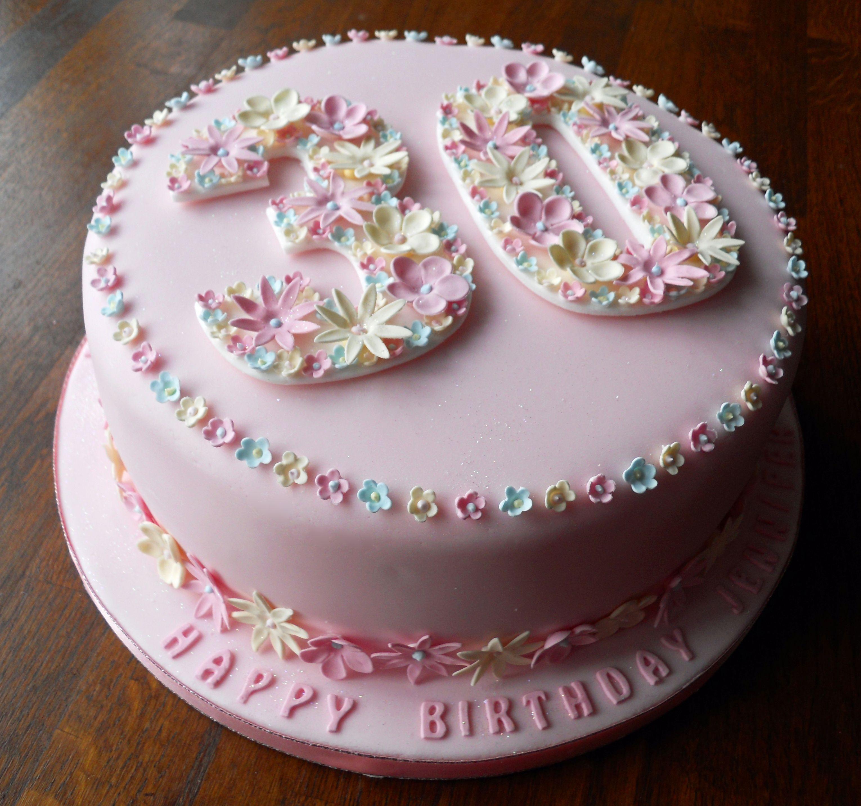 Birthday Cake For Girl Flowery 30th Fun Cakes Pinterest 30