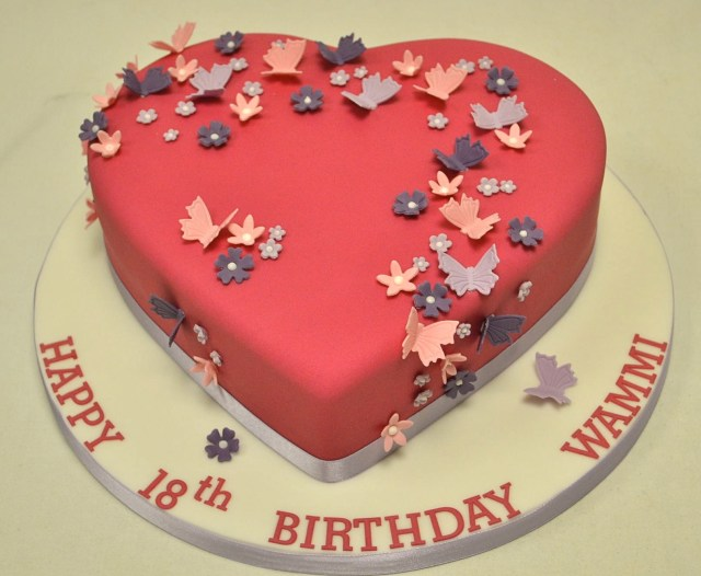 Birthday Cake For Girl Heart Shaped Blossom And Butterfly 18th Birthday Cake Girls