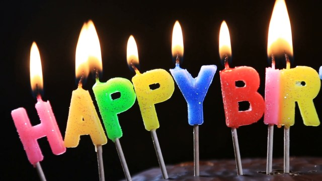 Birthday Cake Images With Candles Lighted Candles On A Happy Birthday Cake Candles With The Words
