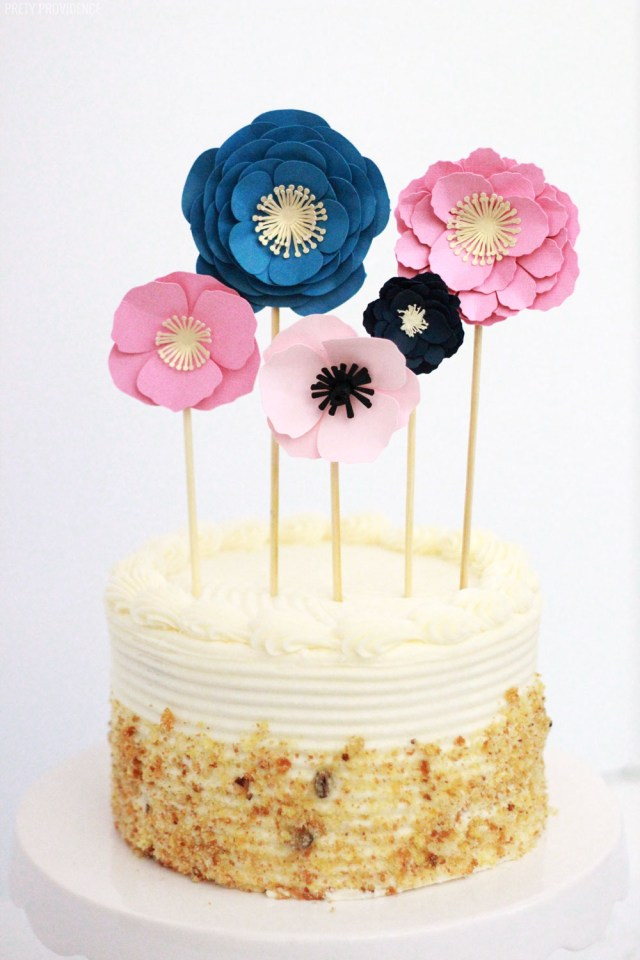 Birthday Cake Toppers For Adults Easy Paper Flowers Cake Topper Pretty Providence