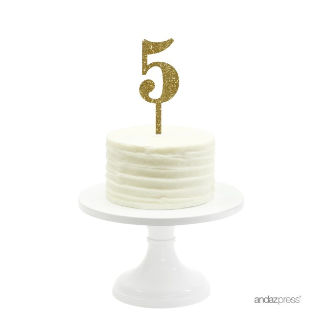 Birthday Cake Toppers For Adults Gold Glitter Number 5 Acrylic Topper Walmart