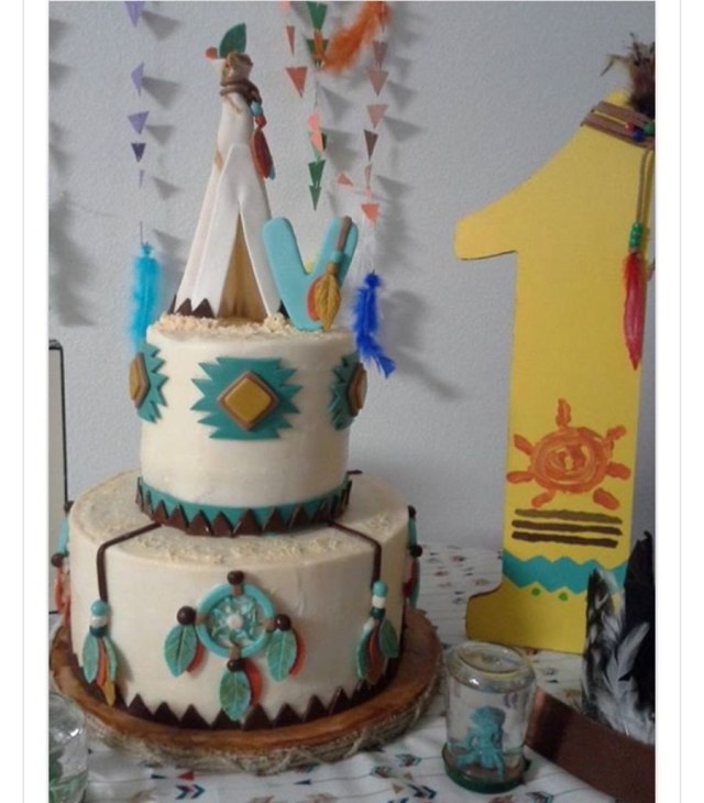 Birthday Party Cakes Teepee First Birthday Party Cake Cakecentral