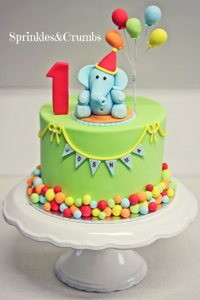 Boys First Birthday Cake A Colourful Circus Themed First Birthday Cake Featuring An Elephant