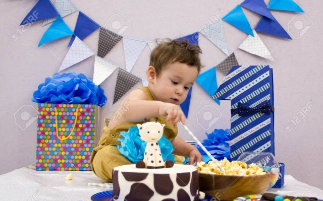 Boys First Birthday Cake Infant Boys First Birthday Cake Smash Adorable Smashing Cake Stock