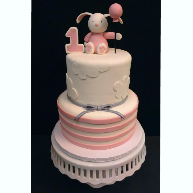 Bunny Birthday Cake Pink Bunny Stripe Birthday Cake