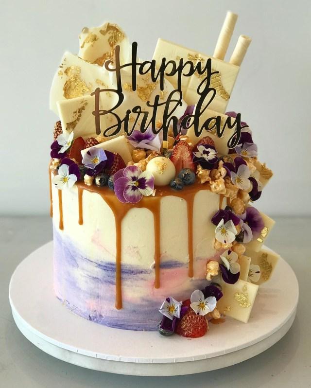 Cake Happy Birthday Happy Birthday Acrylic Gold Mirror Birthday Party Cake Topper Love