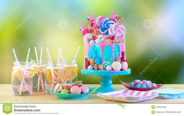 Candyland Birthday Cake On Trend Candyland Fantasy Drip Novelty Birthday Cake Stock Photo