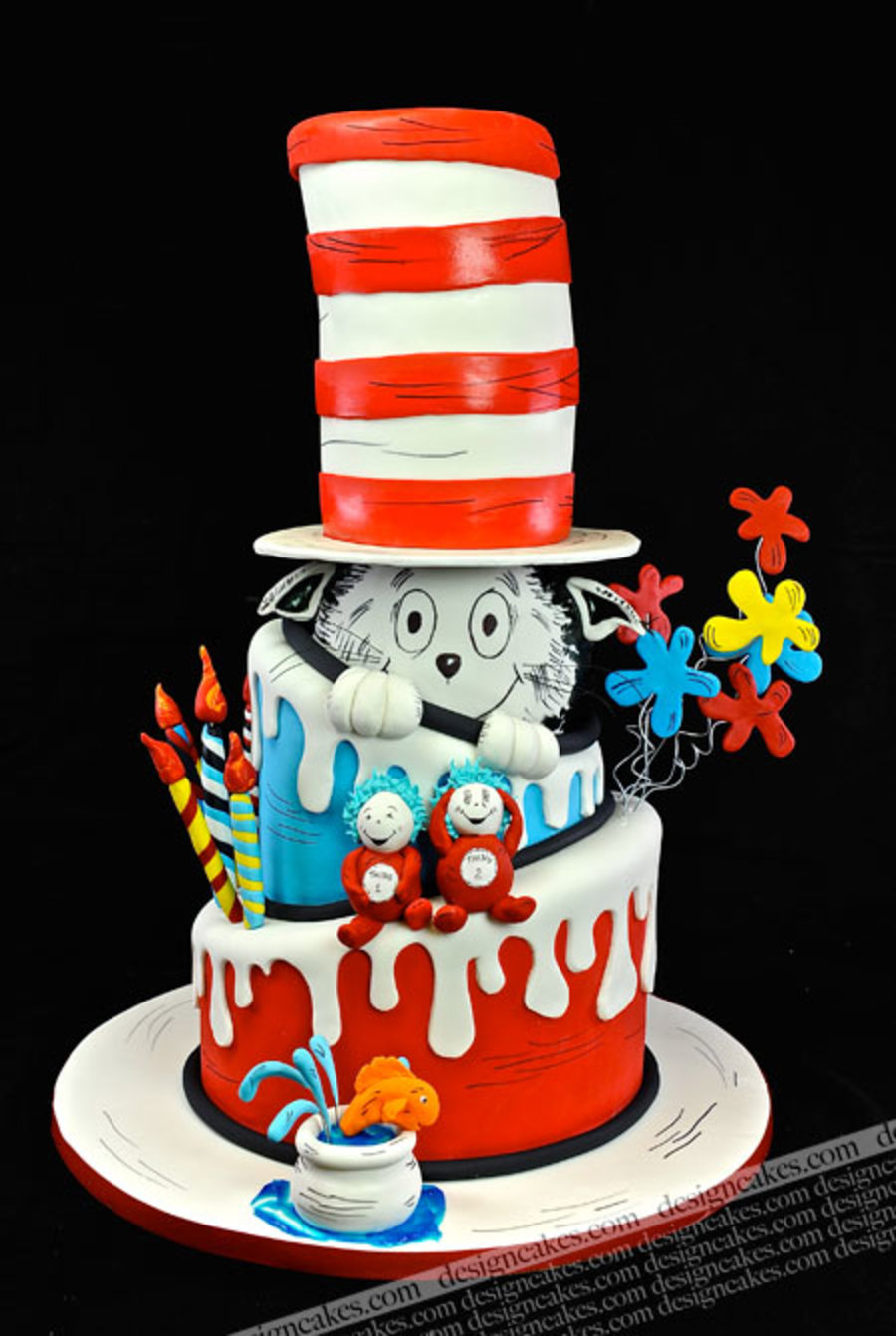 Cat In The Hat Birthday Cake Drseuss Cakecentral