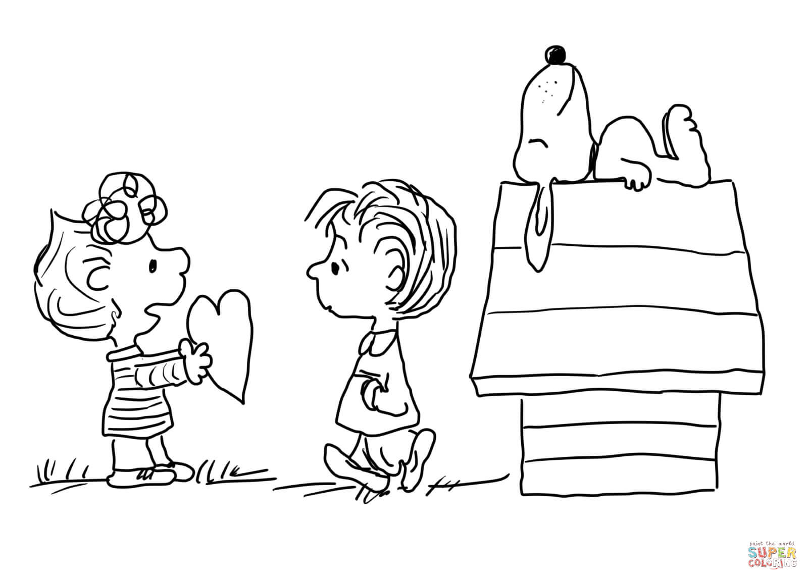 Charlie Brown Coloring Pages Charlie Brown Valentines Day Coloring Page Free Printable
