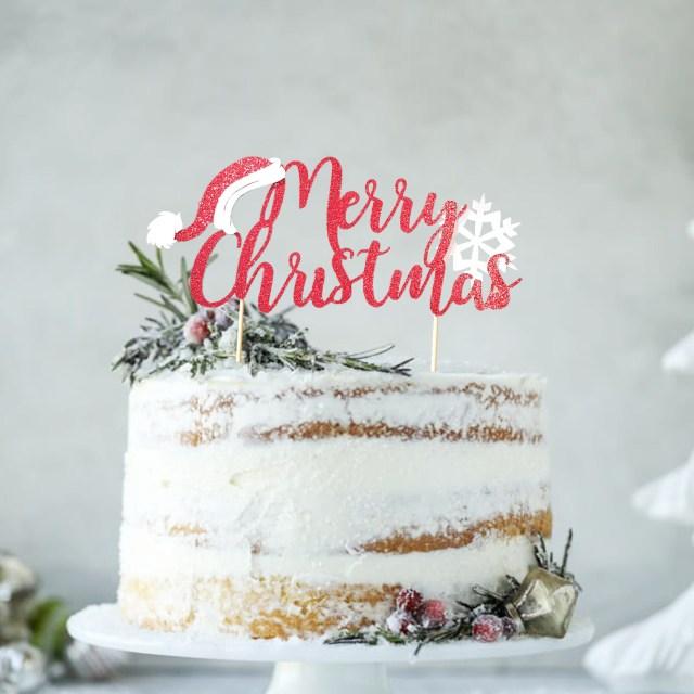 Christmas Birthday Cake Christmas Birthday Cake Topper Santa Cake Topper Christmas Etsy